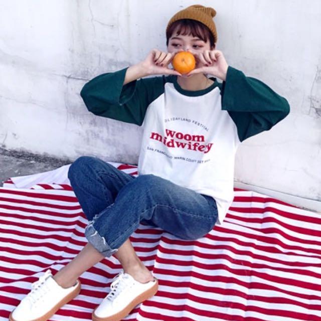 韓 字母棒球長袖上衣