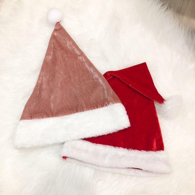 聖誕節 聖誕帽 藕粉色*1 紅色*1