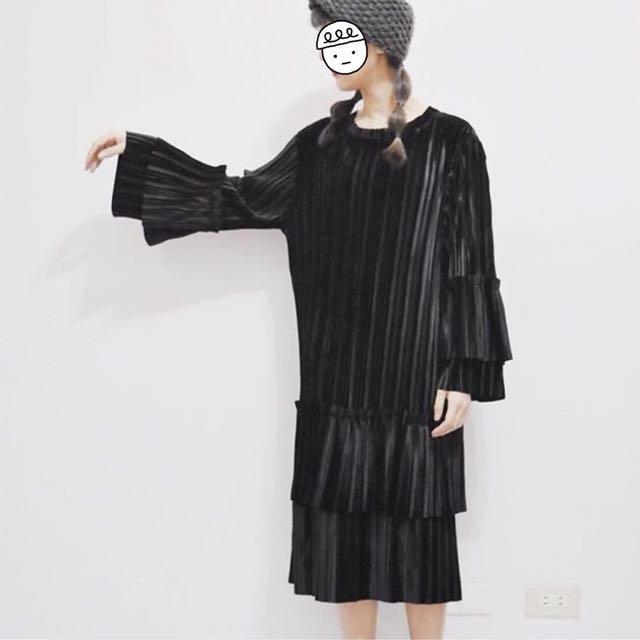 設計款絲絨黑洋裝 洋裝 連衣裙