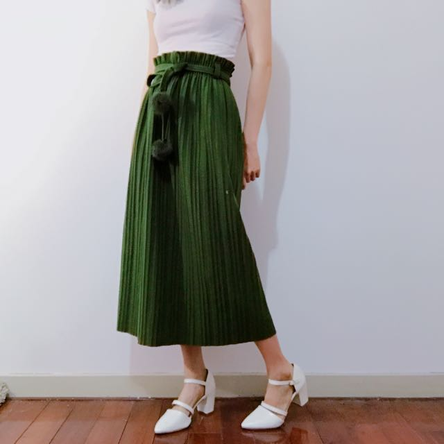 百褶 鬆緊 長裙 毛呢 墨綠色