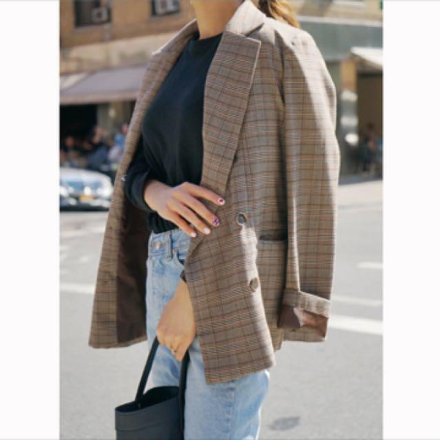 韓款 復古風格 格子 西裝外套 秋季新款 格子短版外套