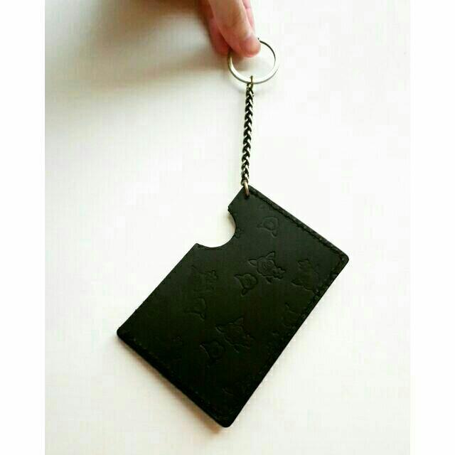 簡約牛皮真皮證件套 黑色壓印花 鑰匙圈 悠遊卡套 卡夾 薄款 玫瑰