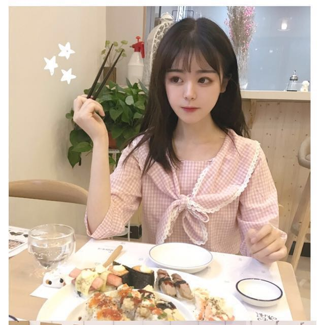 日系 可愛 兔耳 蕾絲 格子 上衣 甜美