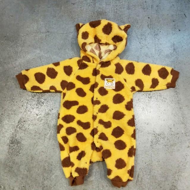 日本 古著 小孩 幼兒 嬰兒衣服 連身衣 動物 長頸鹿 套裝 可愛