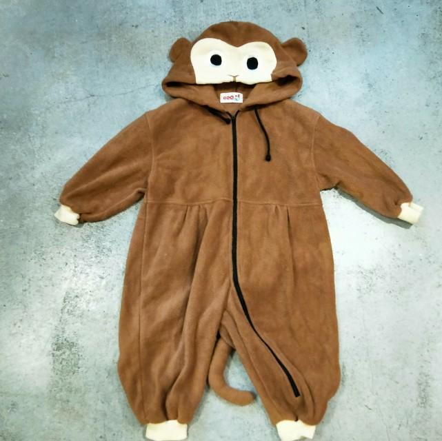 日本 古著 小孩 幼兒 嬰兒衣服 連身衣 動物 猴子 套裝 可愛
