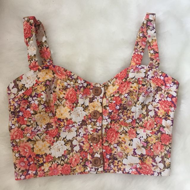 🎀 Orange Floral Crop Top Small