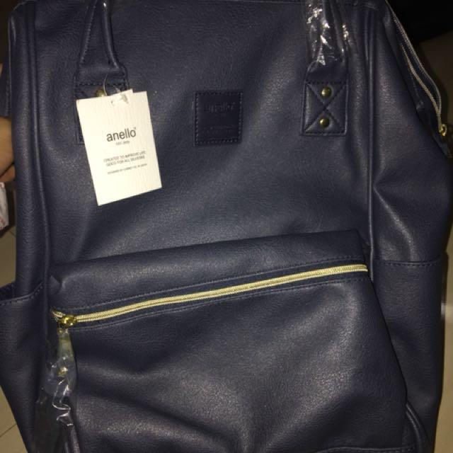 Anello Leather Bagpack ORI NWT (navy)