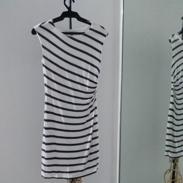 Ann Taylor Dress - White w/ Blue Stripes