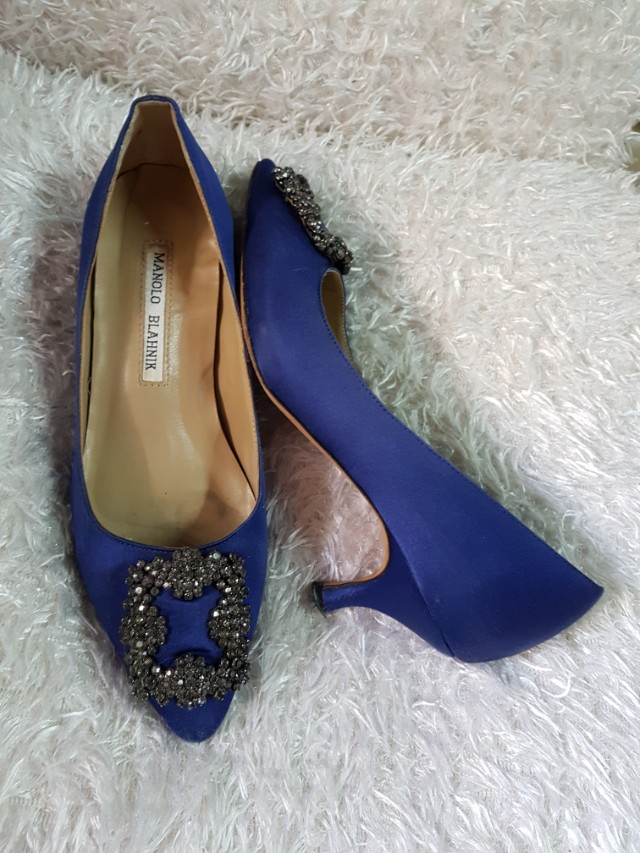 2511704152d ... ireland authentic manolo blahnik hangisi in blue satin kitten heel  pumps size 36 womens fashion shoes