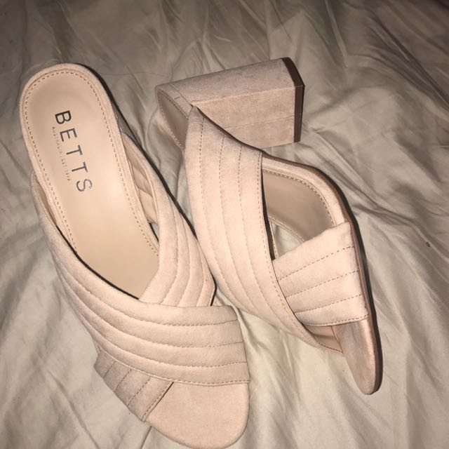 Baby pink suede mules size 9