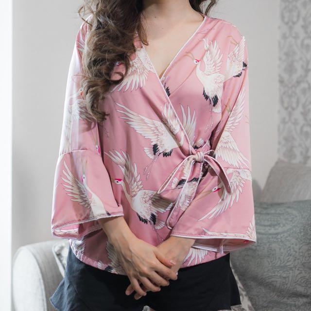 bird kimono silk top
