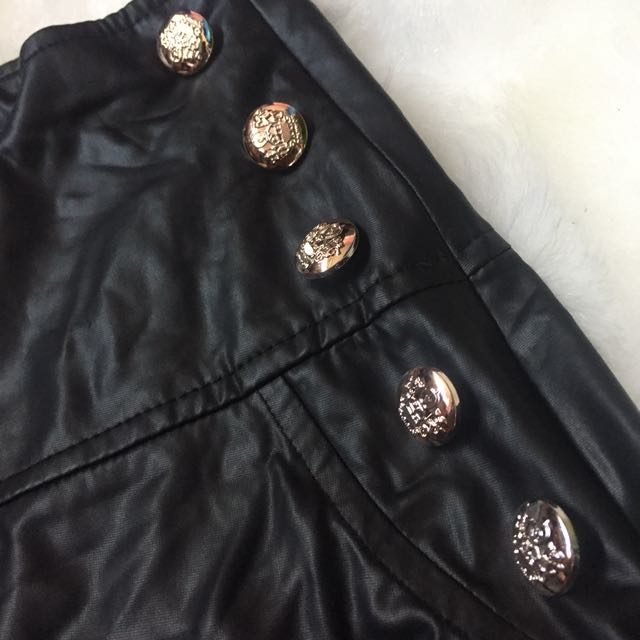 Black High Waisted Leather Button Shorts XS