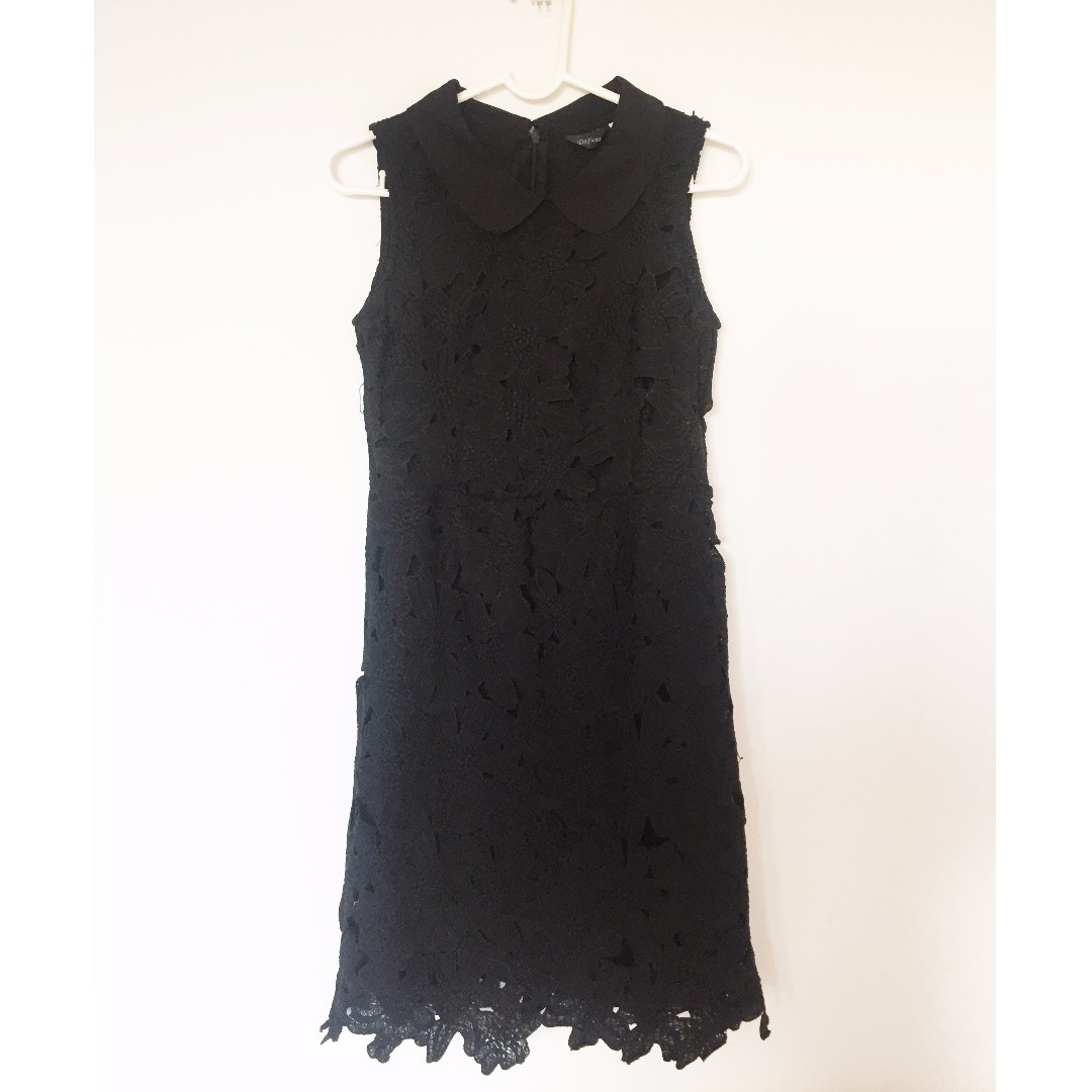Black lace dress with collar
