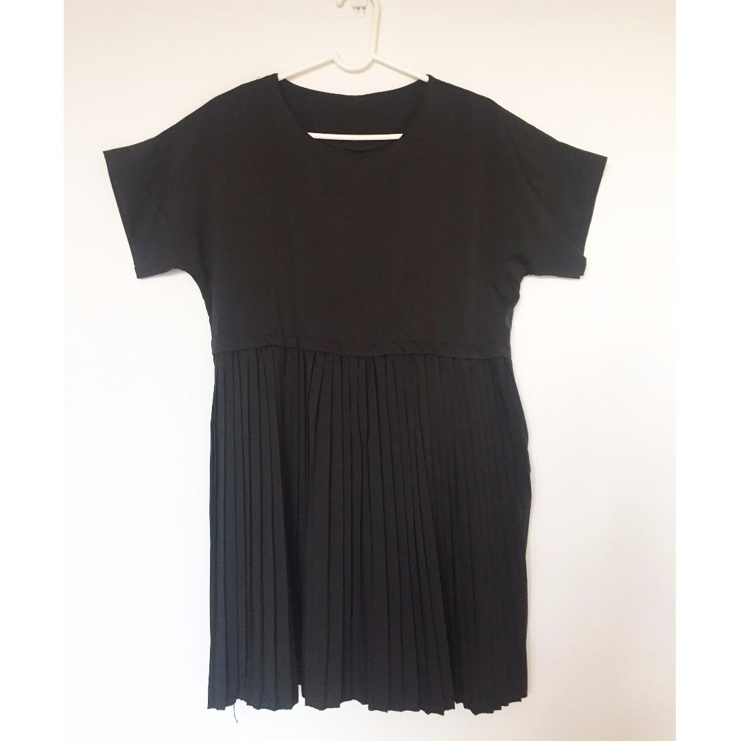 Black pleated babydoll dress