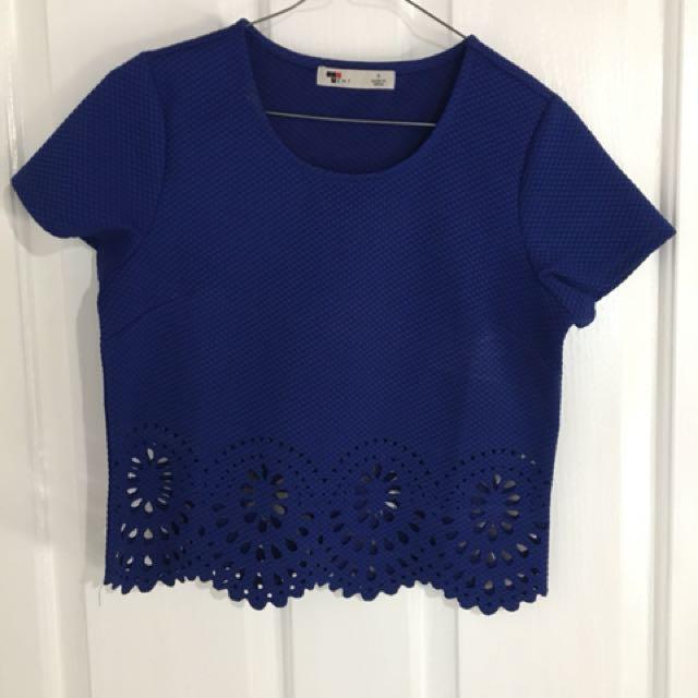 Blue Crop Shirt
