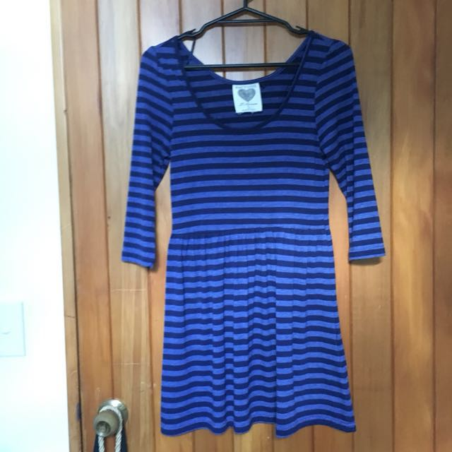 Blue striped skater dress