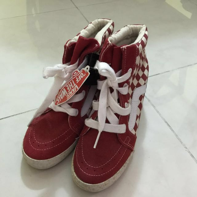 4b61183807 BMWT Vans Sk8-Hi Wedge (red checkerboard)
