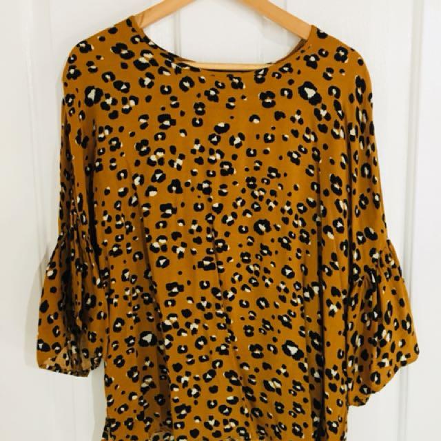 Boho Leopard Print Shirt S/M