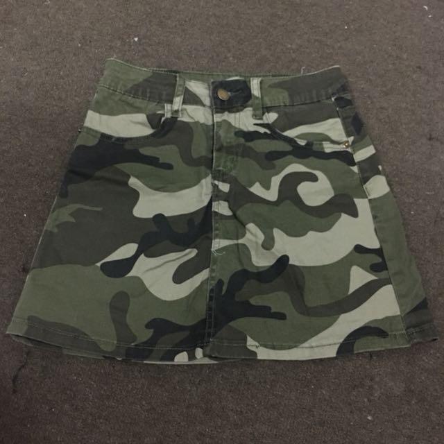 Camo Denim Mini Skirt