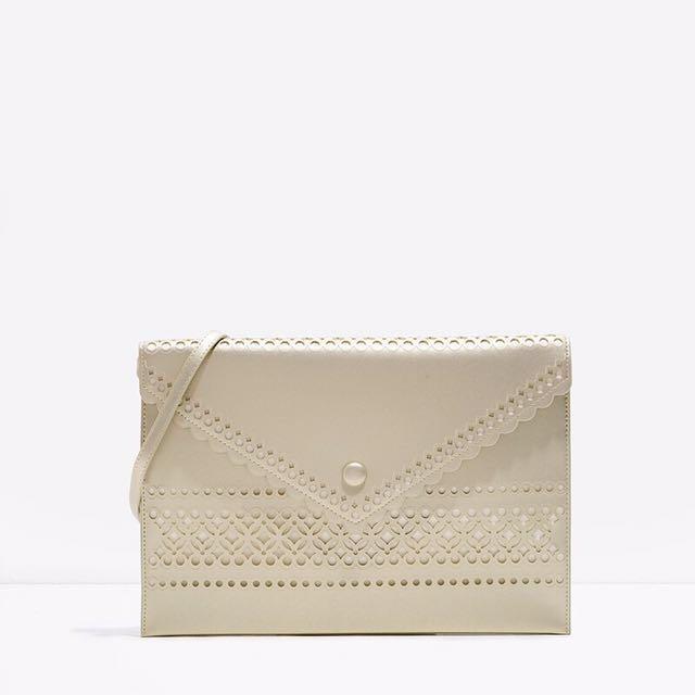 Charles & Keith Perforated Envelope Nude Bag #YearEndSale