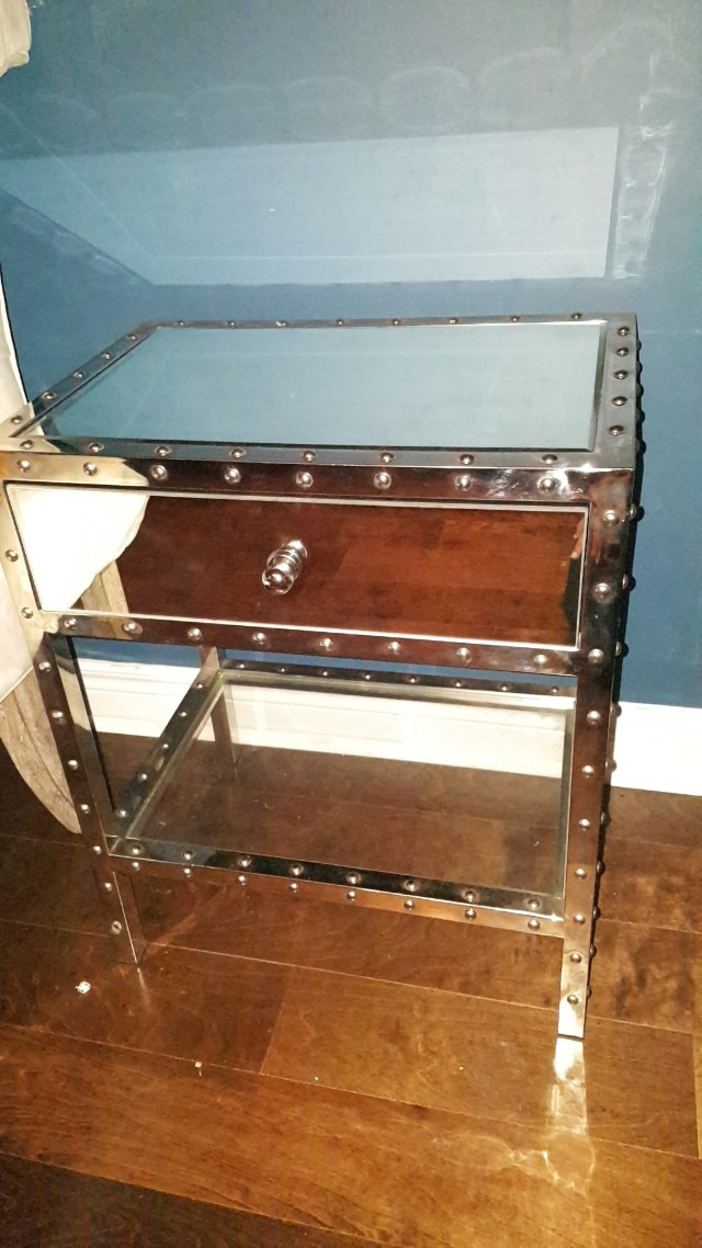 Chrome mirrored side table