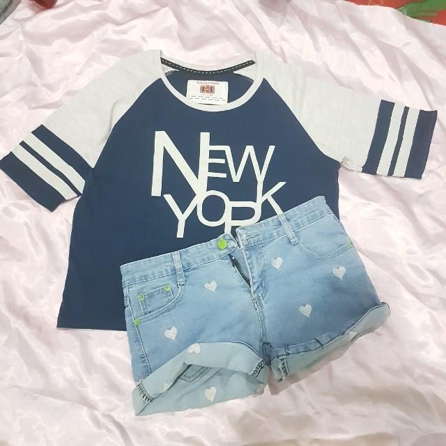 Crop tee baseball navy + short pants pattern love bkk