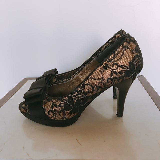 CUMAR 刺繡蕾絲高跟鞋