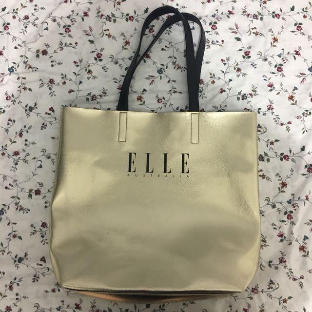 ELLE Australia gold foil tote bag