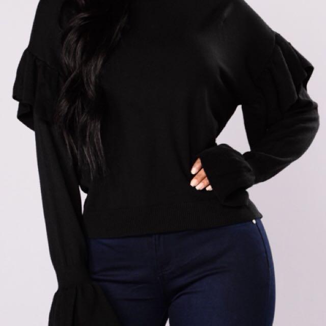 Fashion Nova Ruffle Sweater (SM) - Black