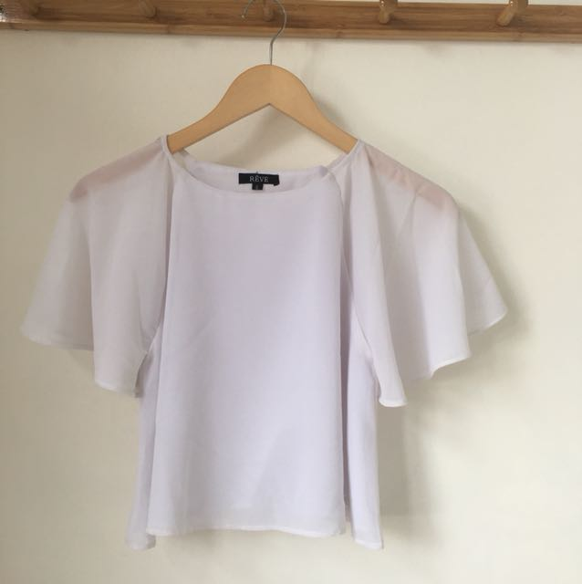 Flared Crop Top White