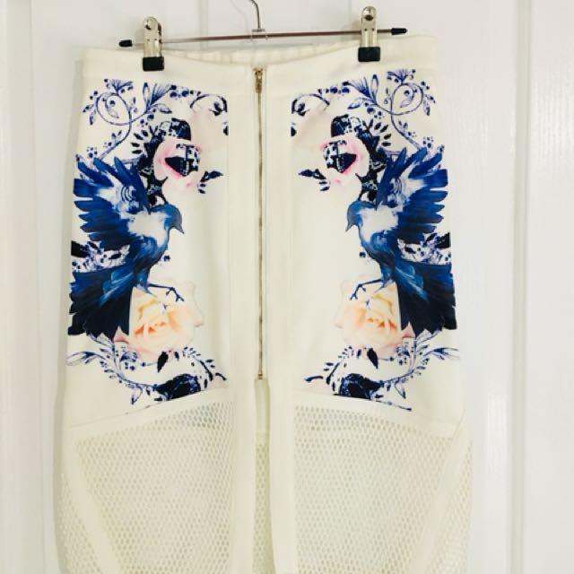 Floral Print 3/4 Mid Skirt