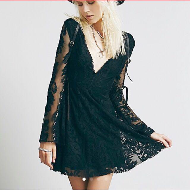 Free people 黑色超美蕾絲洋裝
