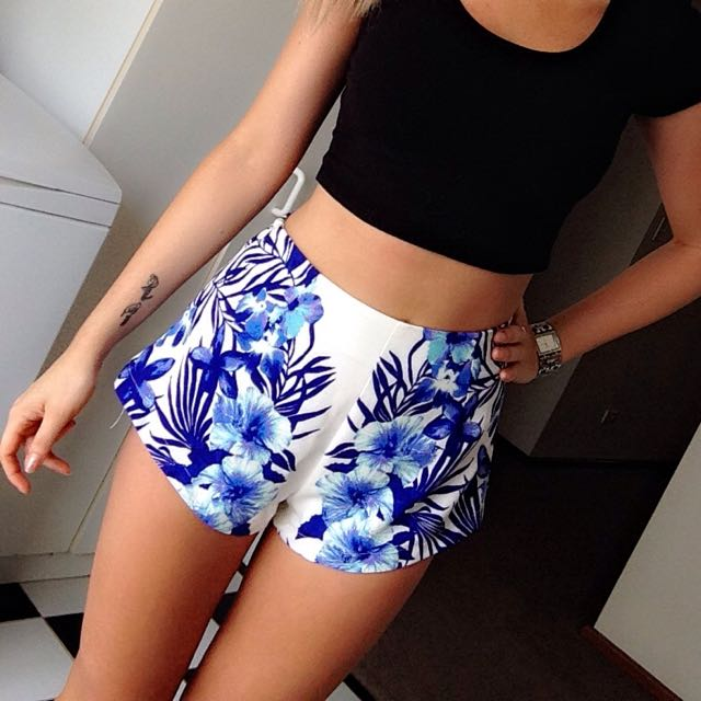 FREE POSTAGE Floral High Waisted Festival Shorts Dolly Girl