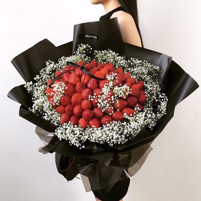 Fresh Strawberry With Baby Breath Bouquets!🍓- Birthday Flower ...