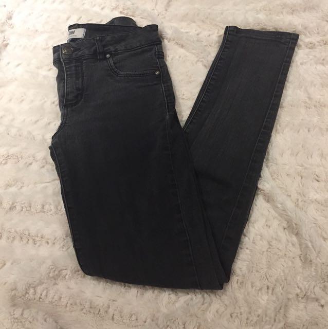 Garage Black/Dark Grey High Waisted Skinny Jeans - Size 6