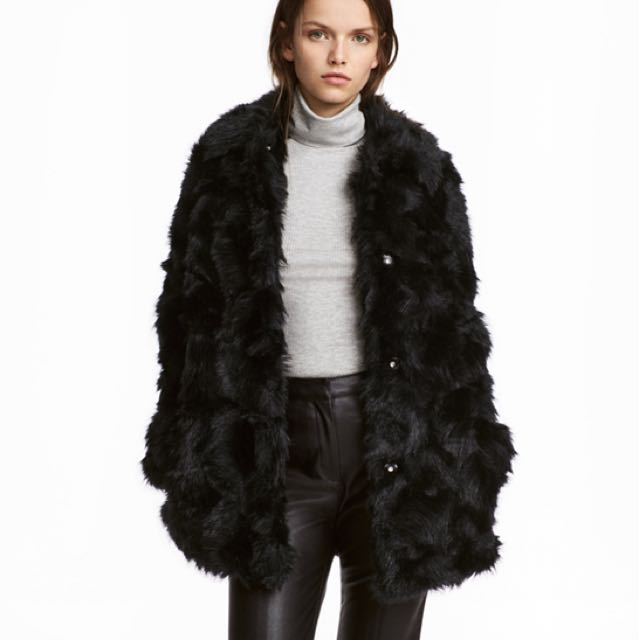 H&M Faux Fur Jacket Size 14