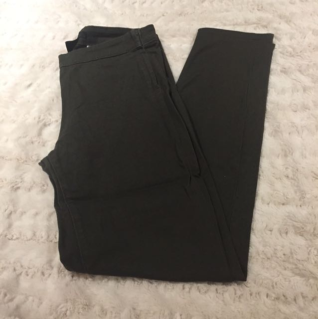H&M Olive Green Skinny Pants w/ Side Zipper - Size 4