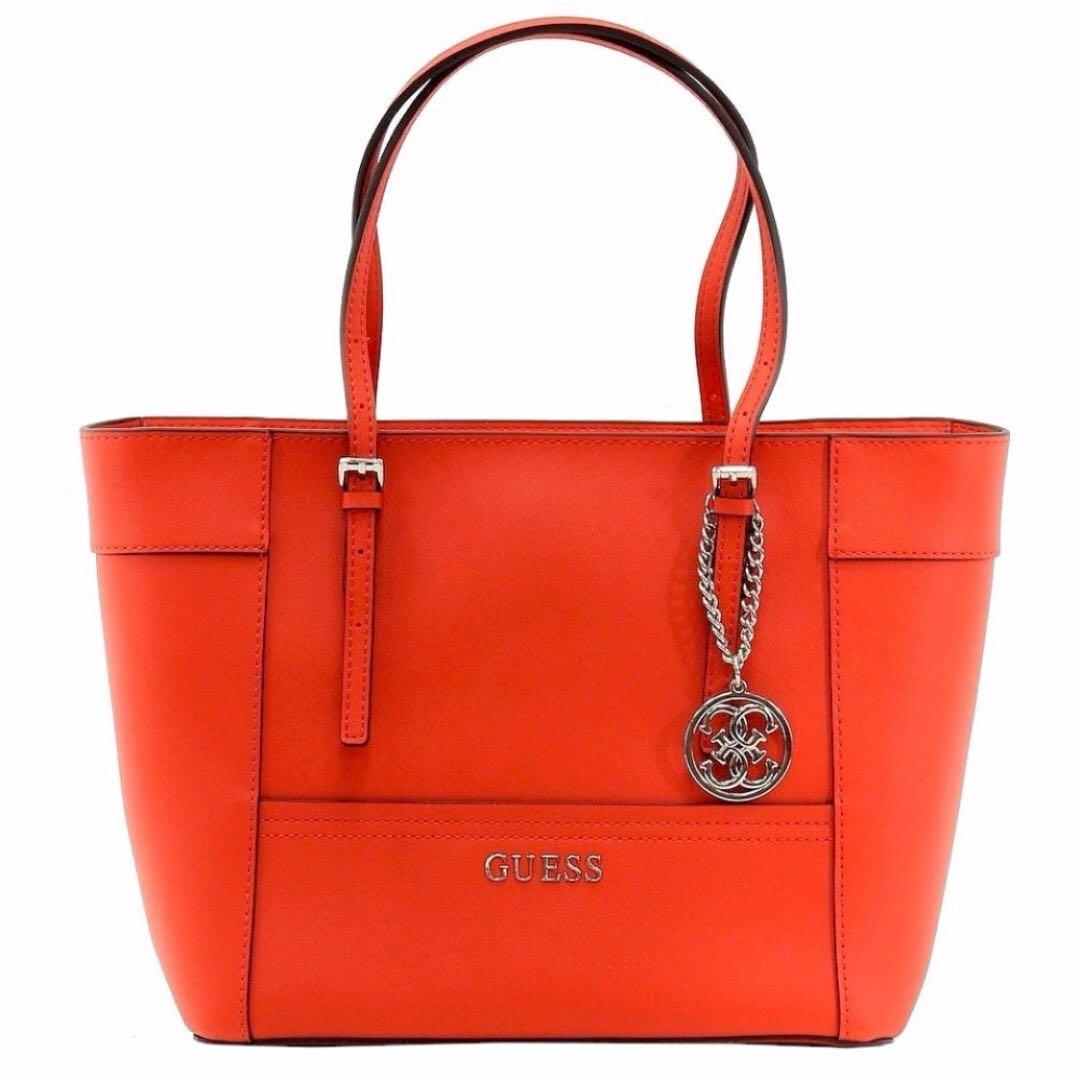 Instock GUESS Big Tote Bag (Orange Black) 0e5533ffeefe3