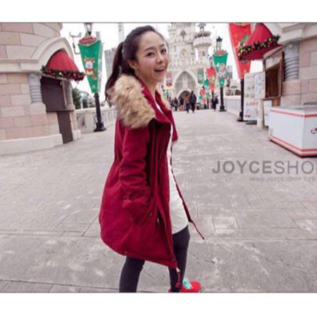 Joyceshop 鋪棉澎毛大衣 紅色