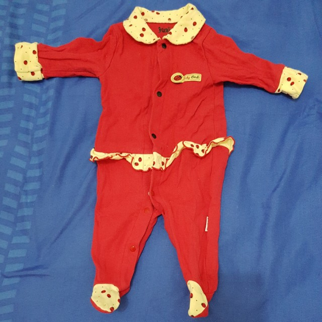 Juniors red button-down bodysuit with footsie & mitten cuffs (0-3 mos)