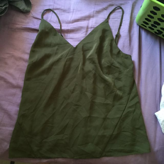 khaki strappy cami top