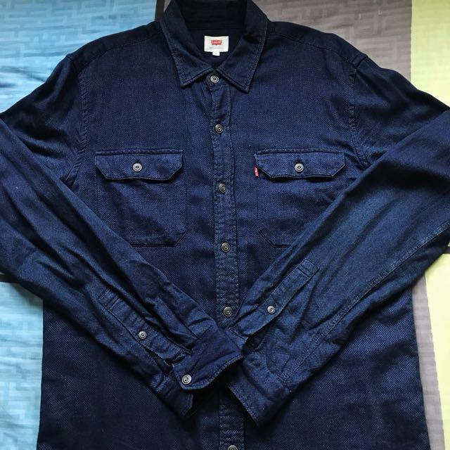 Levi's 襯衫 深藍 藍染 m號
