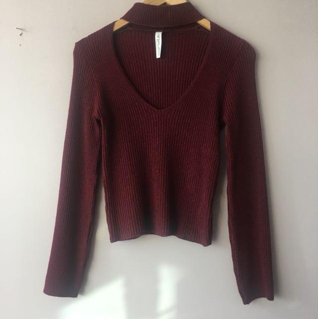 Mendocino burgundy sweater in small