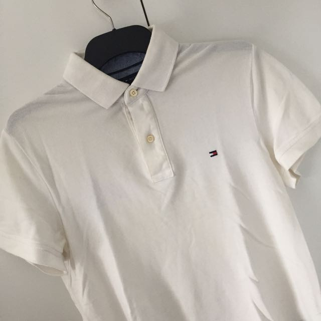 Mens Tommy Hilfiger White Polo