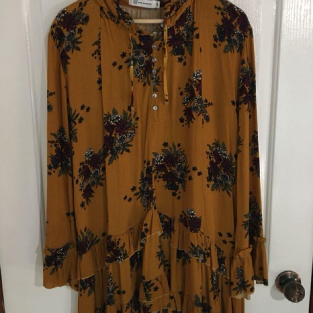 Mustard Floral Print Dress