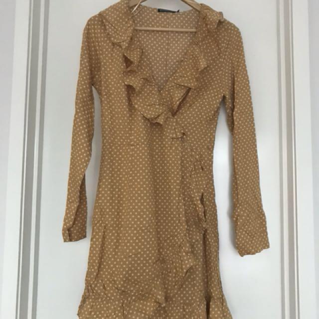 Mustard polka dot wrap dress
