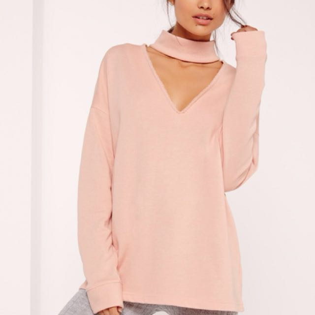 NEW Missguided choker neck sweatshirt nude Medium