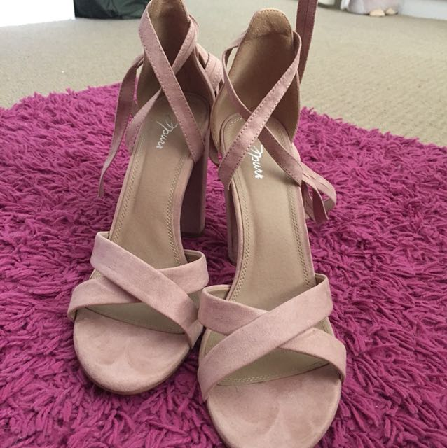 Nude Suede Lace up Heels