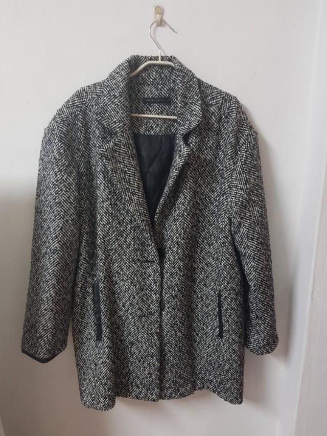 pazzo 千鳥格紋西裝長版皮革厚外套