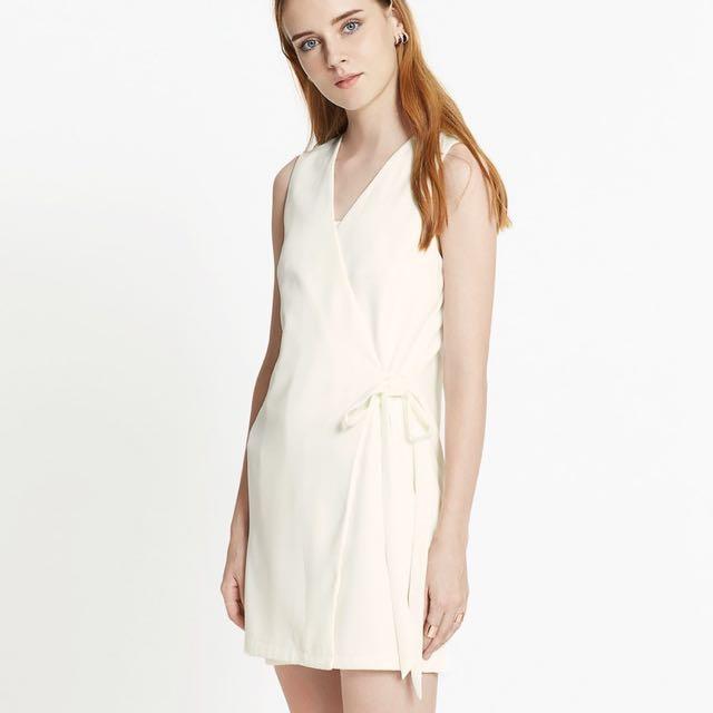 dd77302da1b Pomelo Tie Waist Wrap Dress in White
